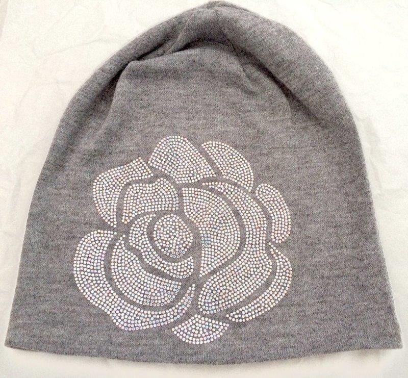 Light gray Rose Beanie