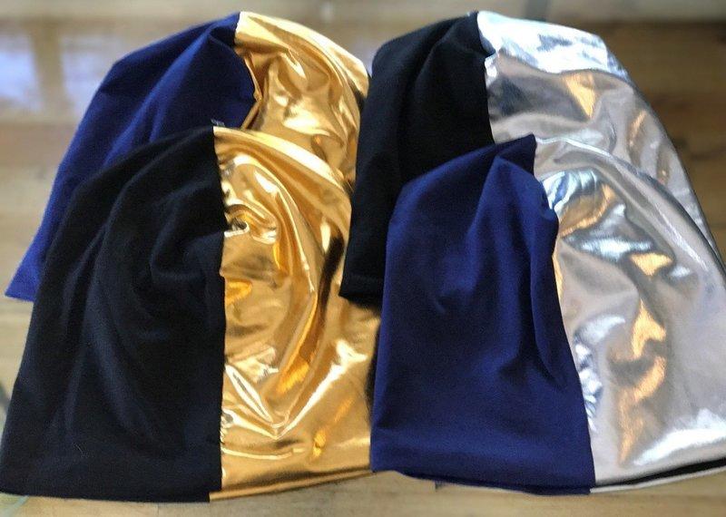 Cotton/metallic pleather split beanie