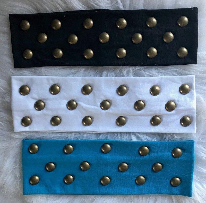 Flat headbands with bronze stones