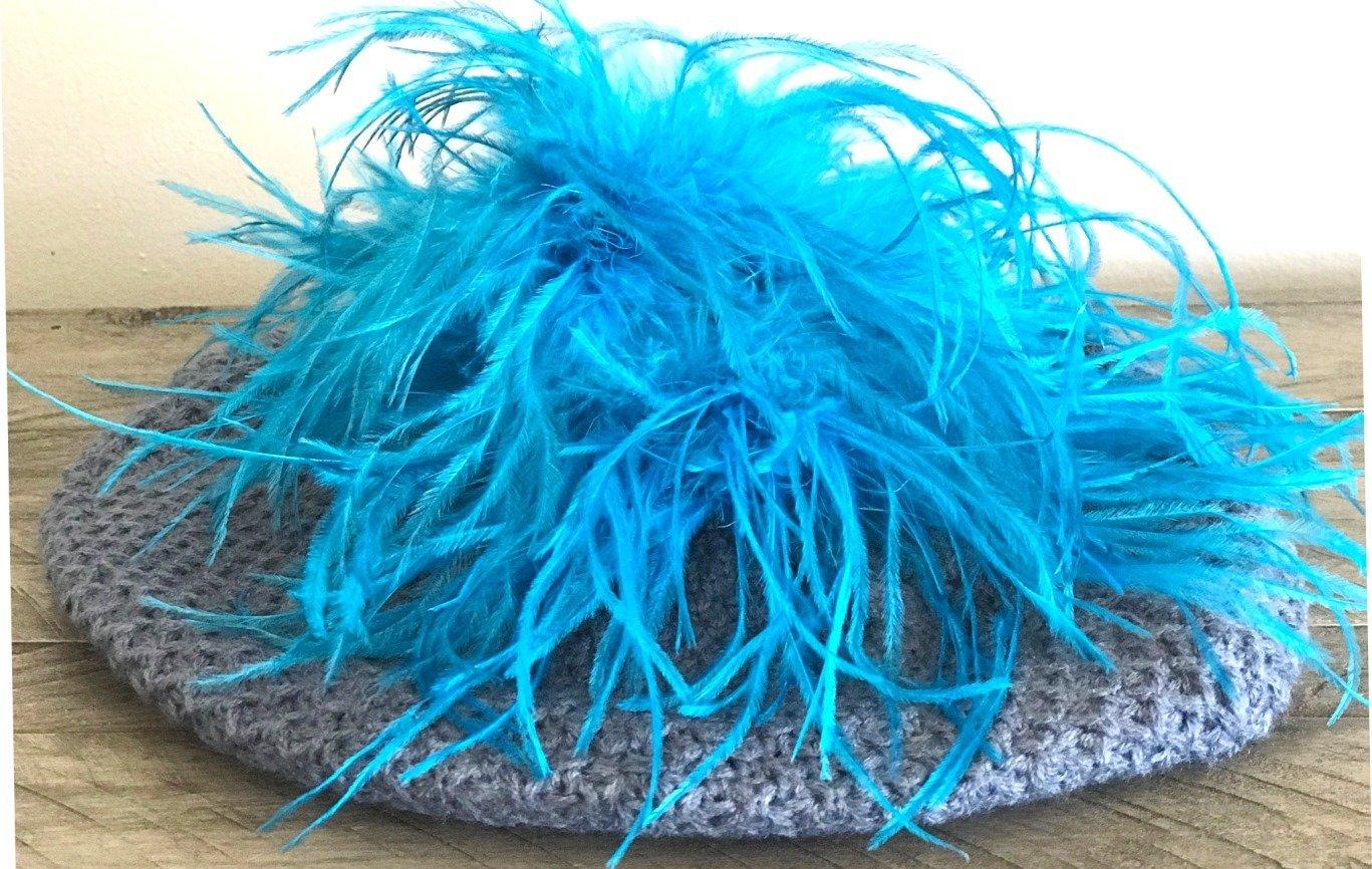 Fine knit denim color beret w/ostrich fur (color of your choice)