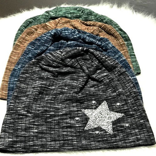 Softest cotton beanie w/stones & star (click to choose colors)