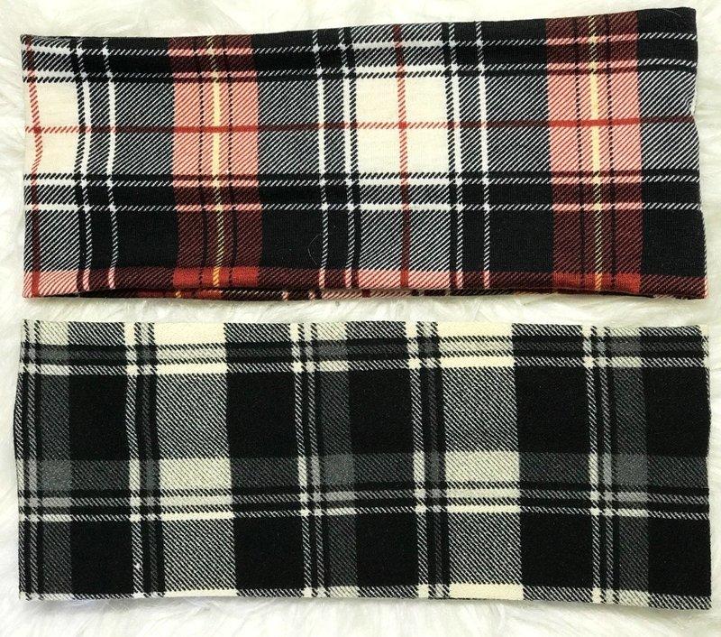 Plaid flat headbands