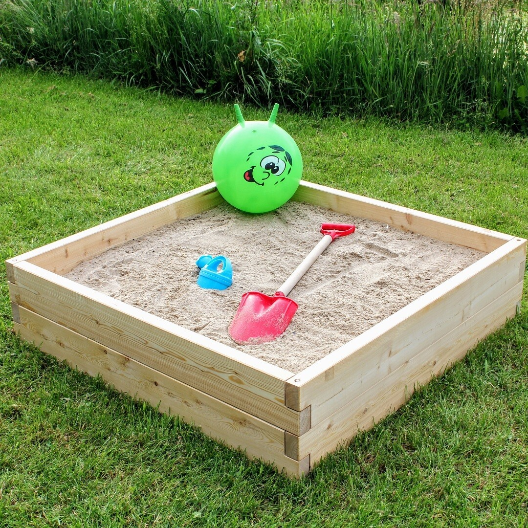 Modulair uitbreidbare houten zandbak | L 107 x B 107 x H 25 cm