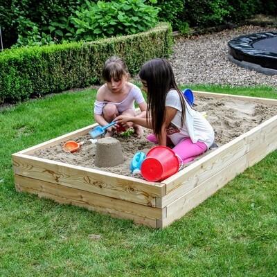 Modulair uitbreidbare houten zandbak XL | L 210 x B 107 x H 25 cm