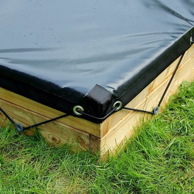 Waterdicht zeil voor houten zandbak | L 107 x B 107 x H 25 cm