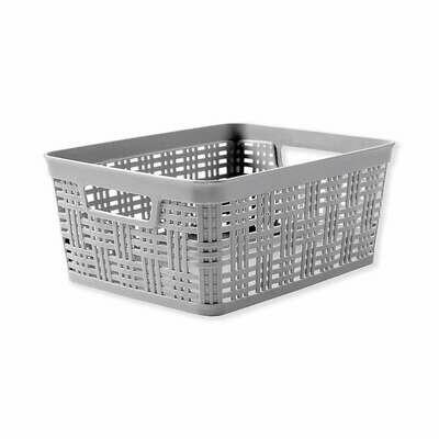 21615 Canasta  tejida de plástico rectangular chica gris o blanca