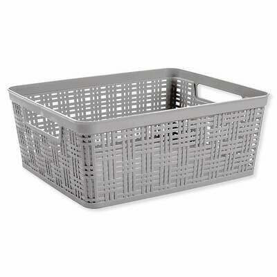 21619 Canasta  tejida de plástico rectangular mediana gris