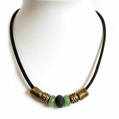 Choker cork necklaces with gemstones