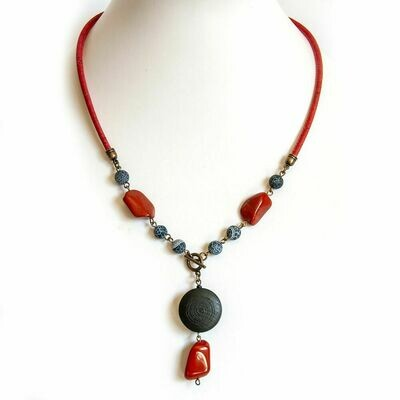 Gemstone and wood necklace