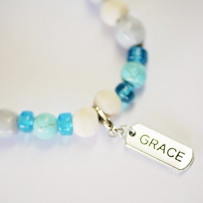Assorted word charm Zulu seed Blue Inspirational bracelet