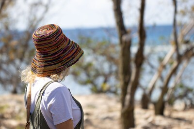 Multi colour crochered hat