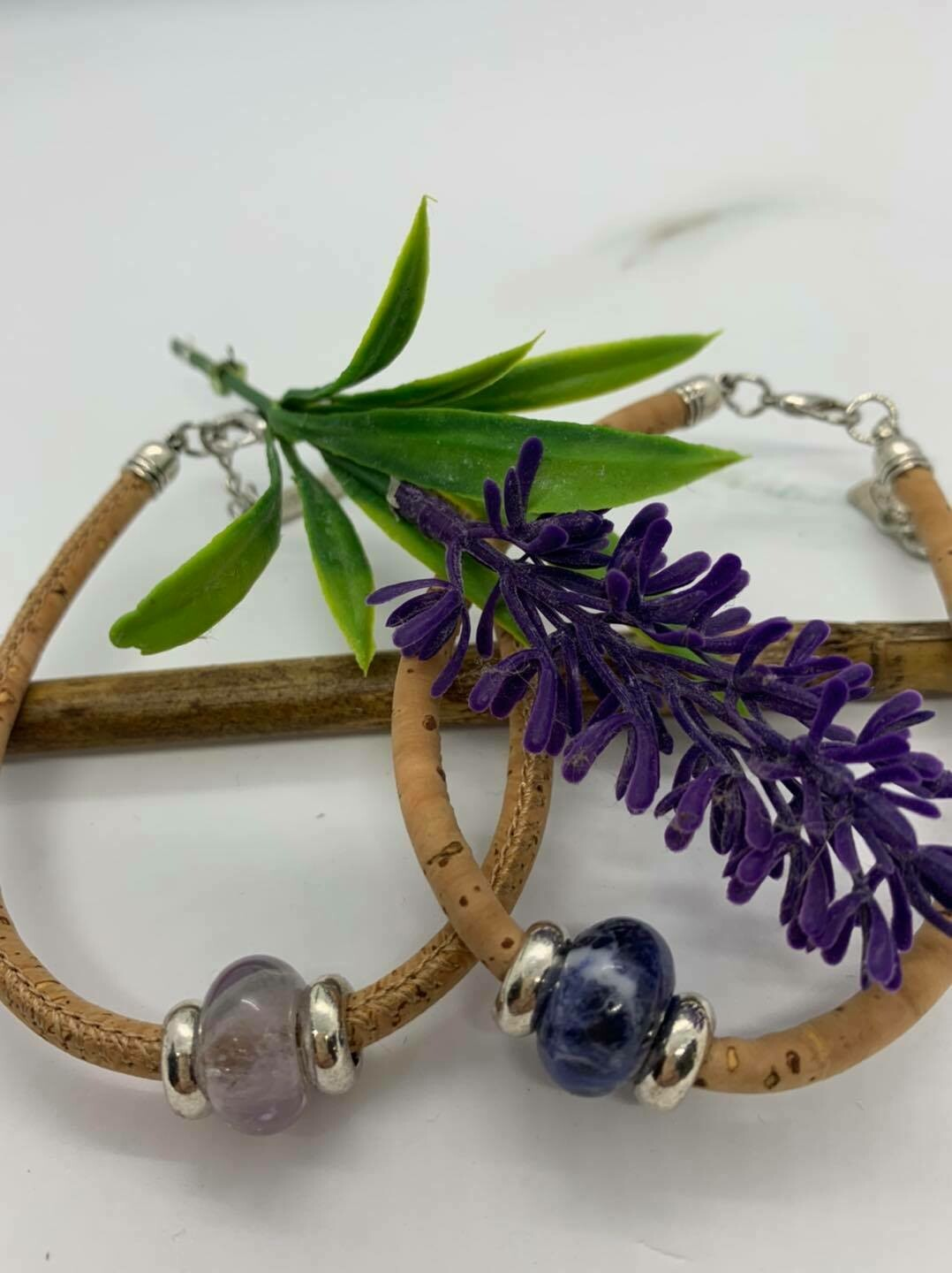 Cork bracelets with gemstones