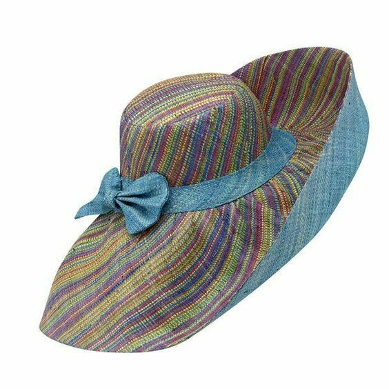 Wide brim raffia striped hats