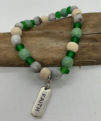 Assorted word charm Zulu seed Green Inspirational bracelet