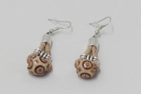 Cork earring with wooden ball