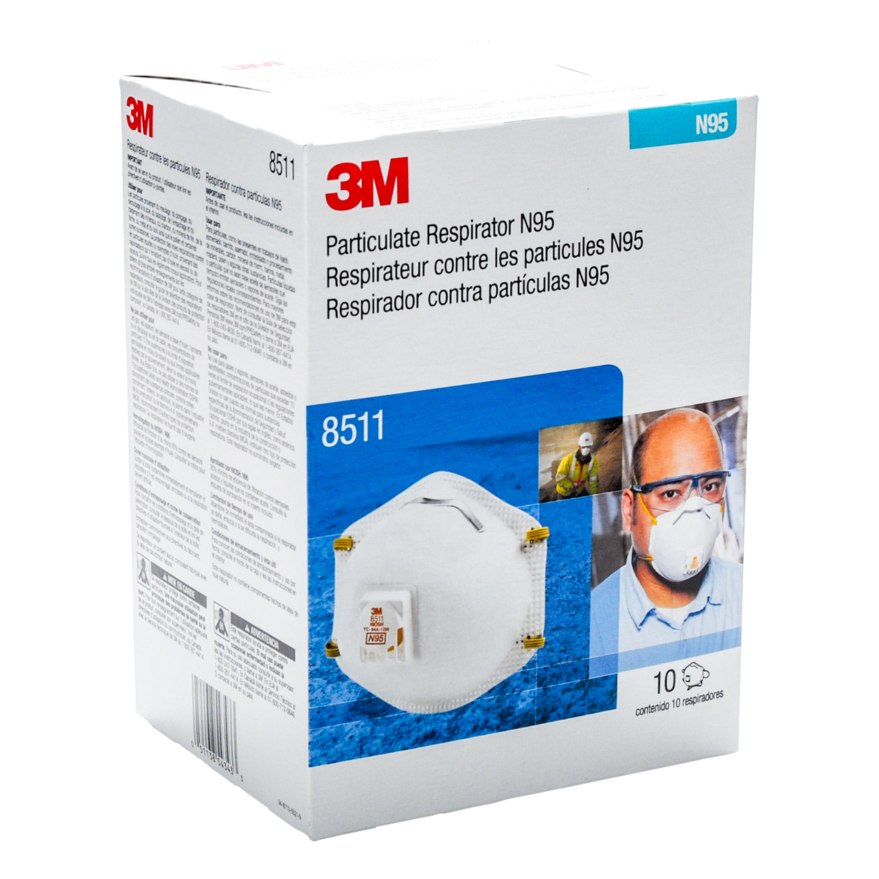 3M 8511 N95 Face Masks With Valve (10-pack) 21196