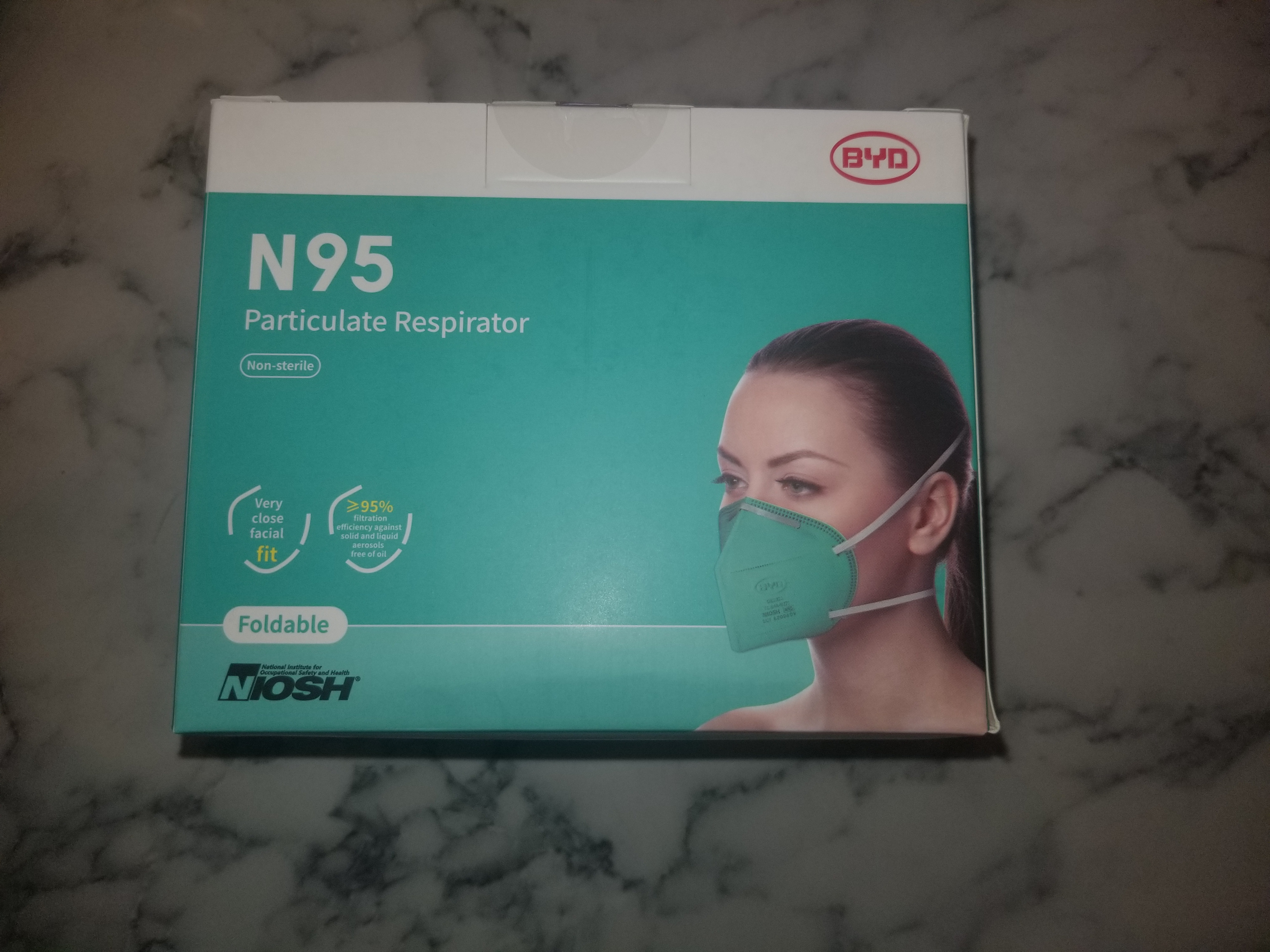 BYD N95 Protective Disposable Face Mask Cover NIOSH Approved (20-Pack) 21198