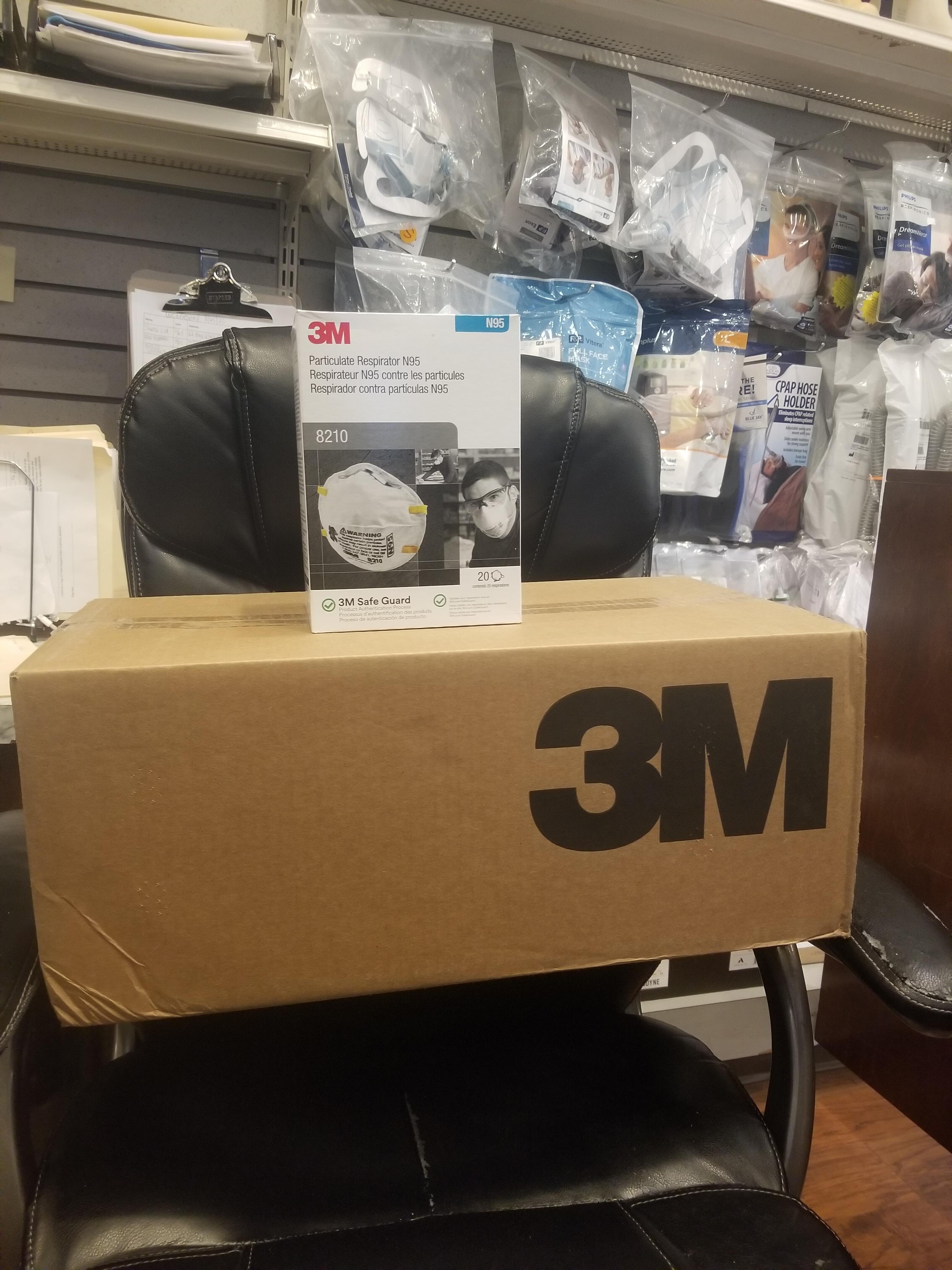 1 Case of 3M 8210 N95 Face Masks (20-pk) (8 boxes per case) 21206