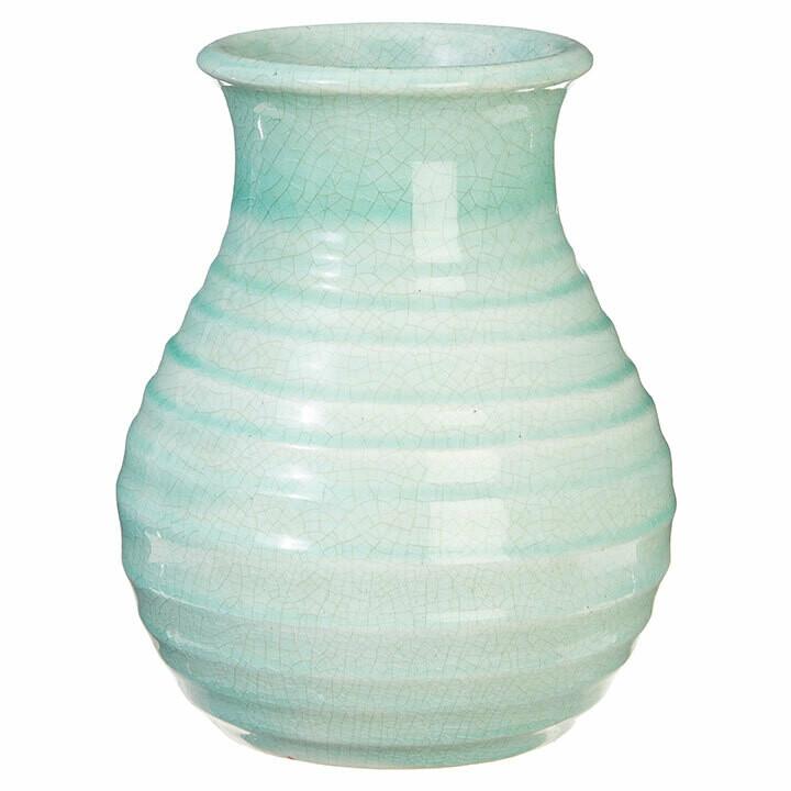 """Vase Green Crackle 9"""""""