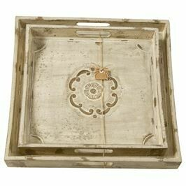 Tray Engraved Floral Wood Lrg
