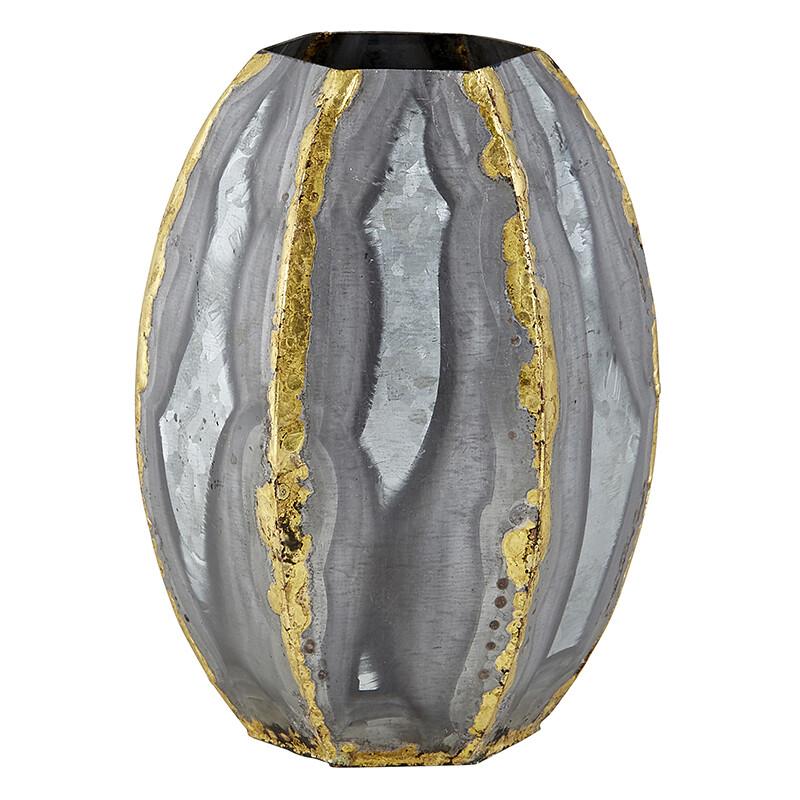 Vase Gold Galvanized Med