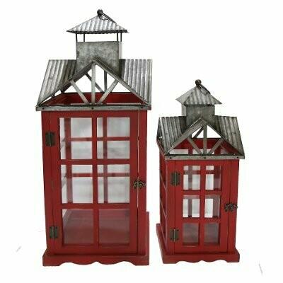 Lantern Red Wood & Metal (S/2)