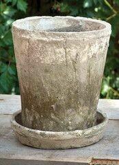 Antiqued White Pot & Saucer