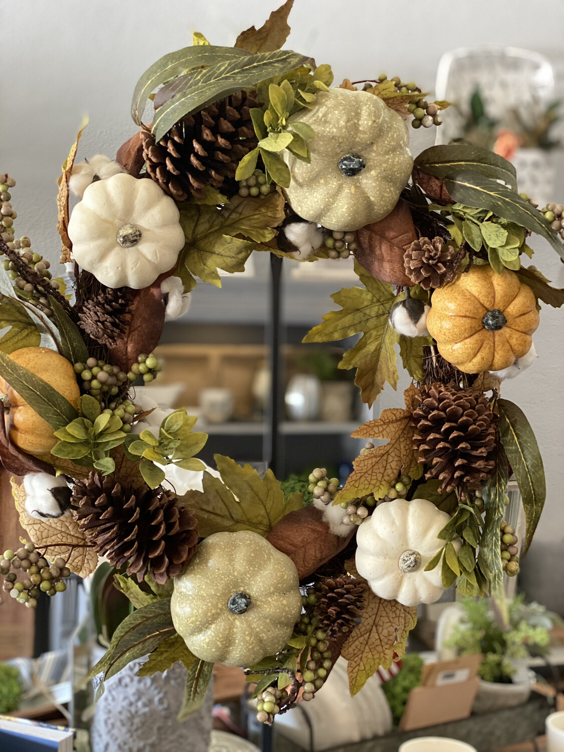 Wreath Mixed With Pumpkins