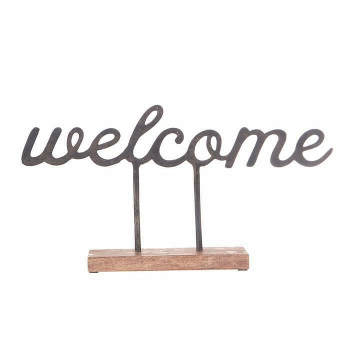 Welcome Sentiment Cast Iron Sitter