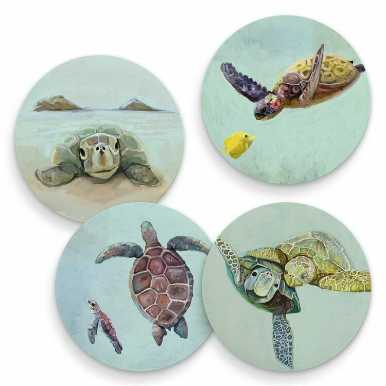 Coasters Tropical Turtles Set/4