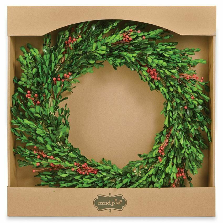 Wreath Preserved Flax Boxwood