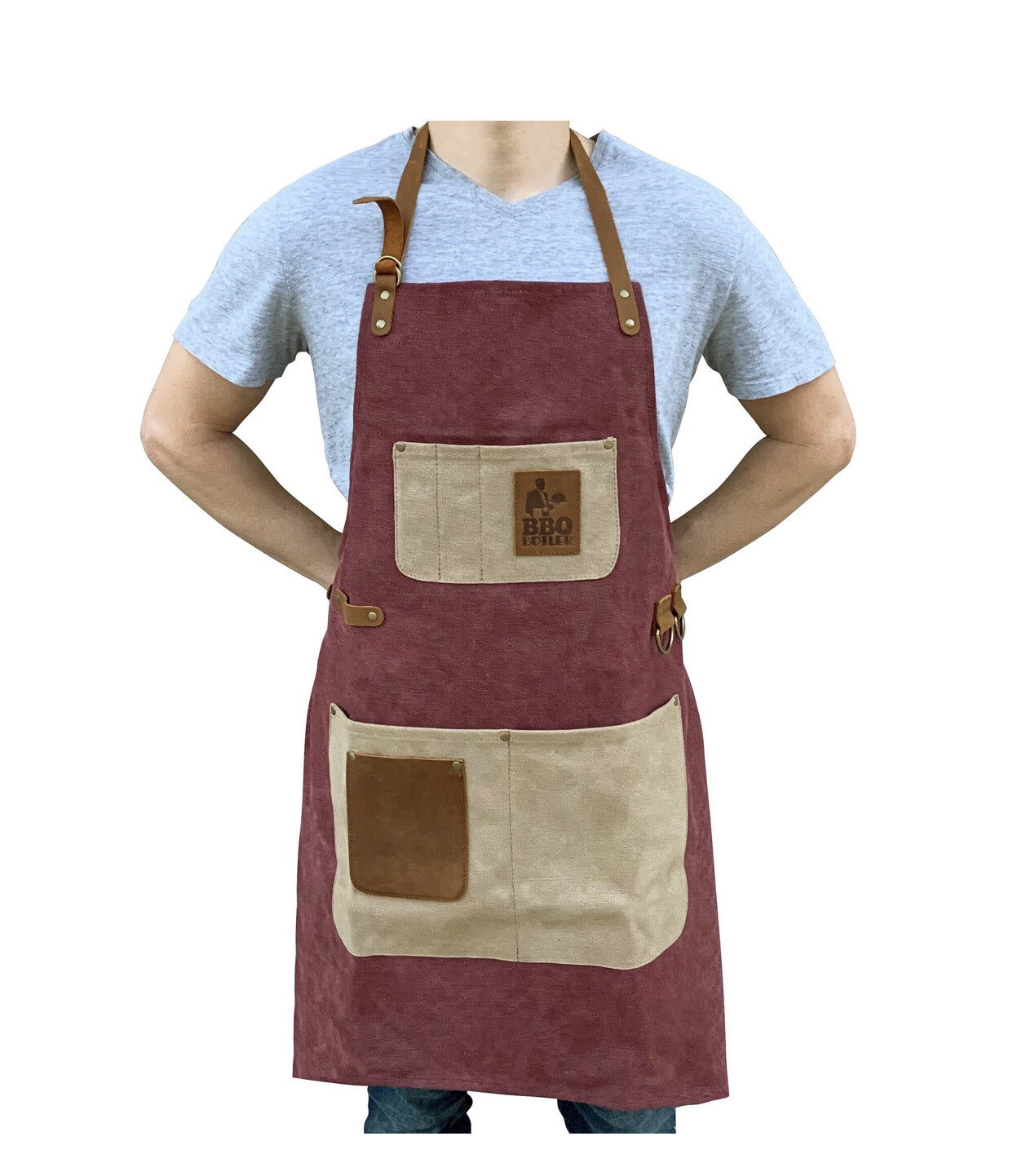 Apron Wax Canvass Burgundy