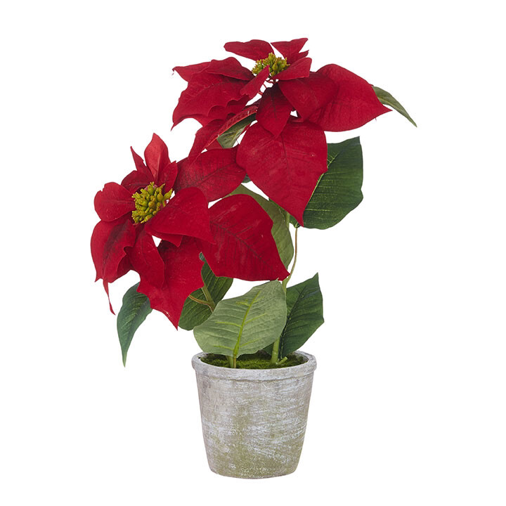 """Floral Potted Poinsettia 18"""""""