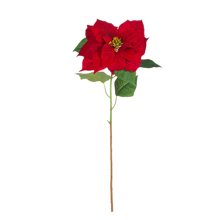 """Floral Red Poinsettia Stem 30"""""""
