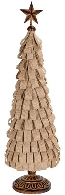 "Christmas Tree Burlap Ribbon 24"""