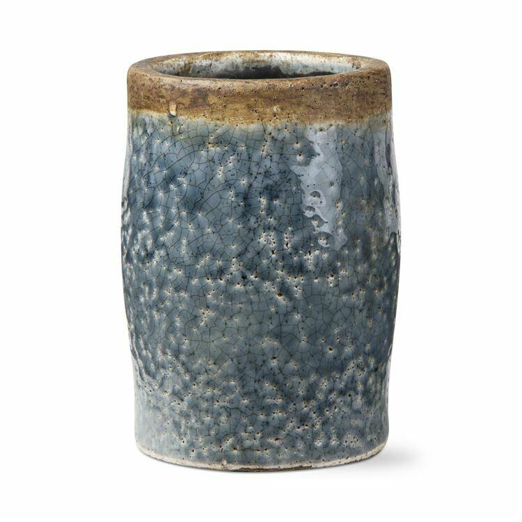 Vase Crackle Glazed Blue