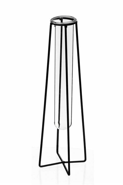 "Vase Iron/Glass 10"""