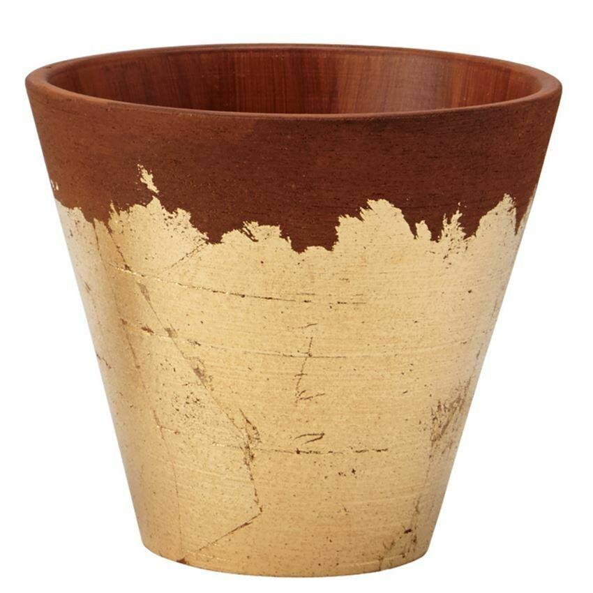 Pot Terracotta Gold Foil Large