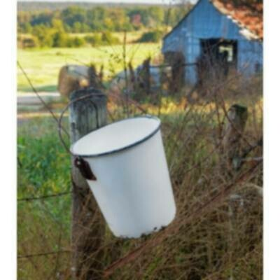 Painted Metal Milk Pail