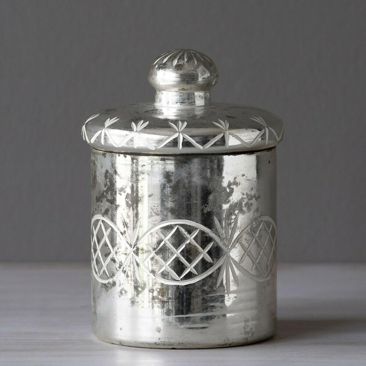 Jar Trinket Mercury Glass Med