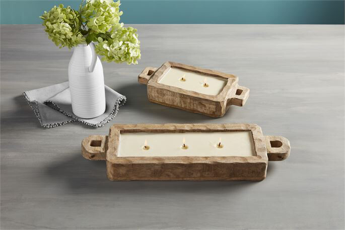 Candle Rectangle Wood small