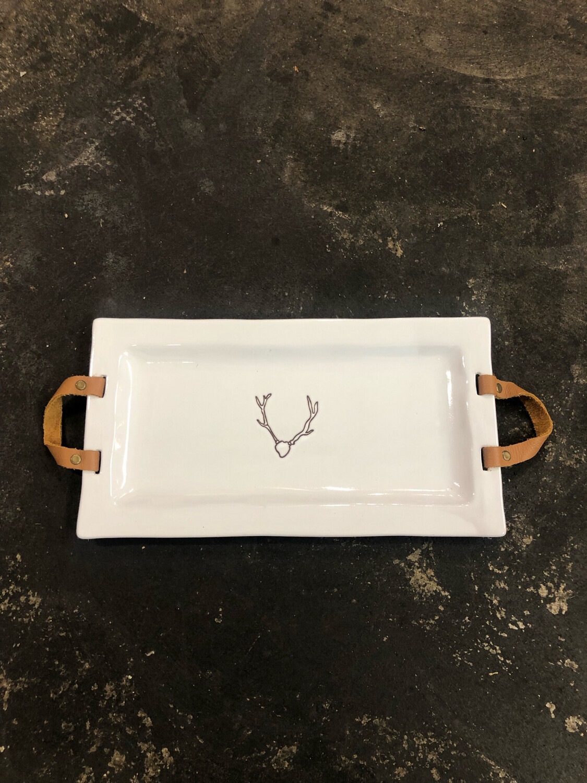 Platter With Handles Deer