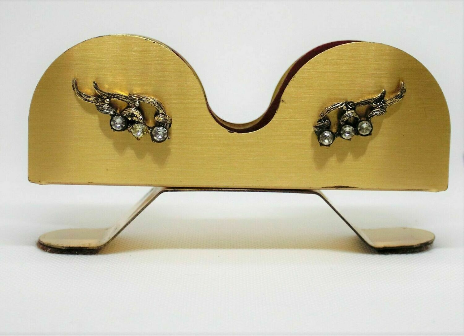 Vintage Antique Crazy Cats Eye Eyeglass Holder with Rhinestones