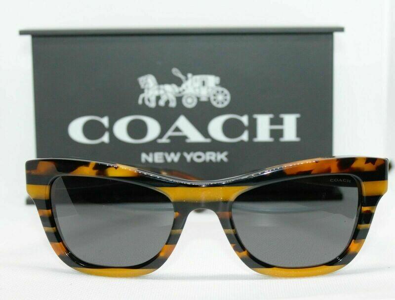 New Coach HC8223 Sunglasses Black Amber Glitter Varsity Stripe Case & Cloth Incl