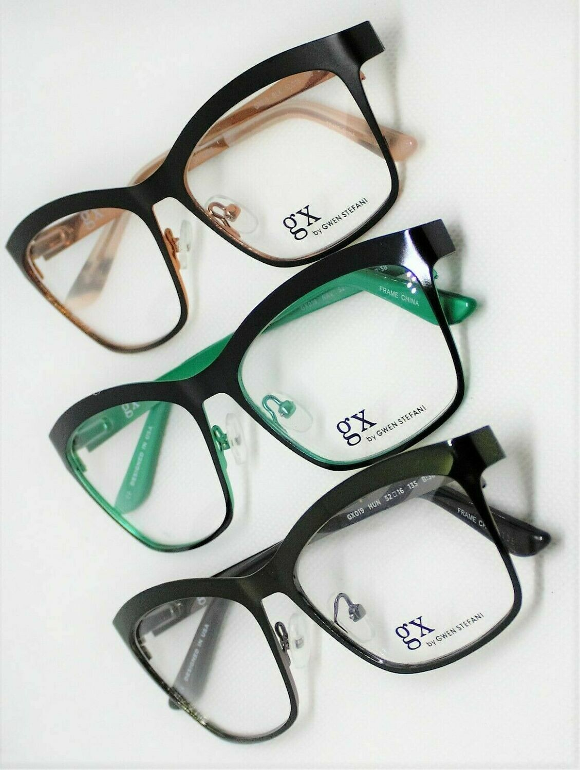 3 Pair GX019 Gwen Stefani eyeglass frames 3 Colors 52-16-135 Authentic and New
