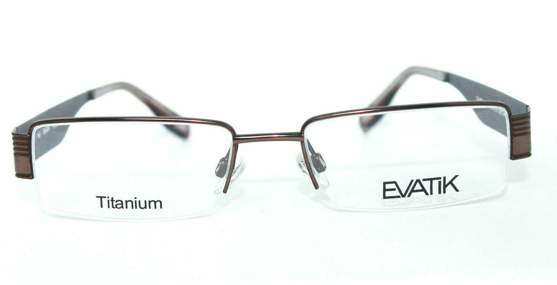 AUTHENTIC & NEW EVATIK 9014 Titanium Semi Rimless Brown 53-18-140