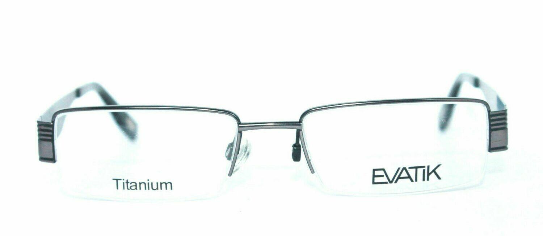 AUTHENTIC & NEW EVATIK 9014 Titanium Semi Rimless Gray Black 53-18-140