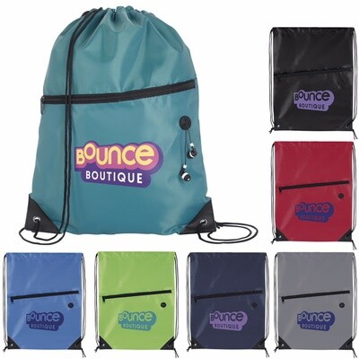 Front Zip Drawstring Backpack