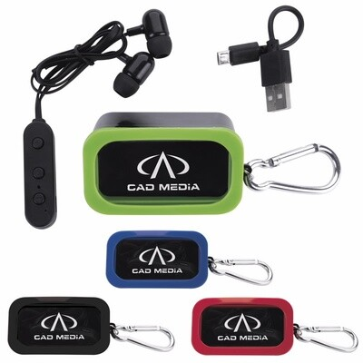 Bluetooth® Earbuds in Carabiner Case