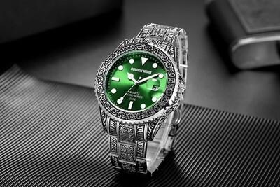 vintage carved watch/man/waterproof/Original Alloy metal band/wristwatch fashion classic/designer luxury brand/golden